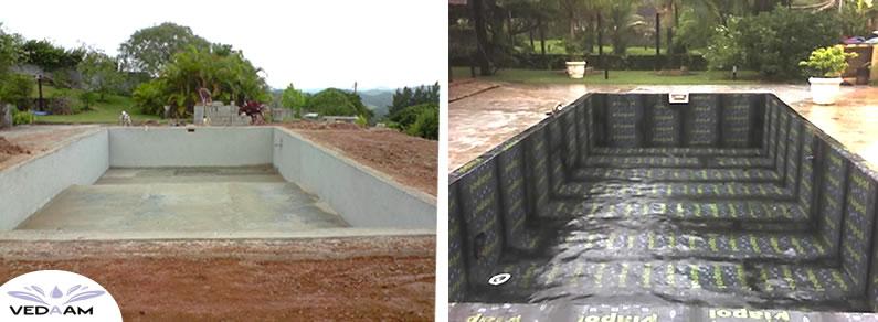 Impermeabilização e piscina aberta